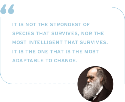 Charles Darwin - It is not the strongest of species that survives, nor the most intelligent that survives. it is the one that is the most adaptable to change